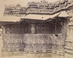 Close view of façade of south side of Trikuteshvara Temple, Gadag, showing moulding and sculptural details